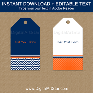 Instant Download Favor Tag Template Orange Navy White