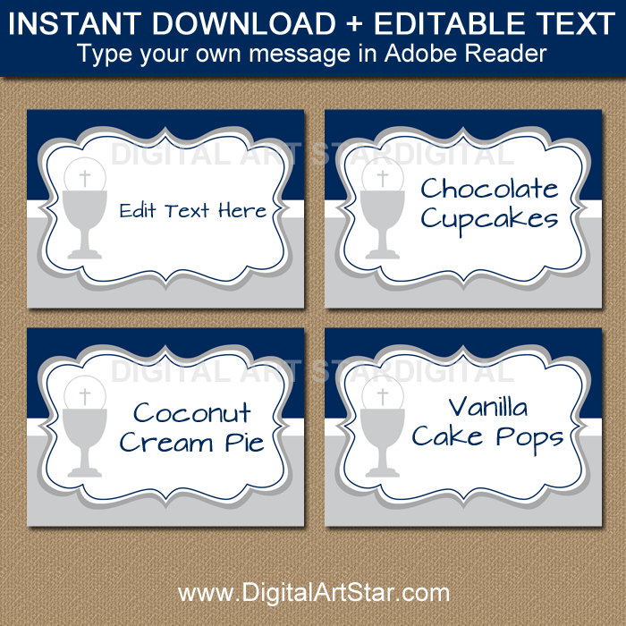 Editable First Communion Candy Buffet Labels