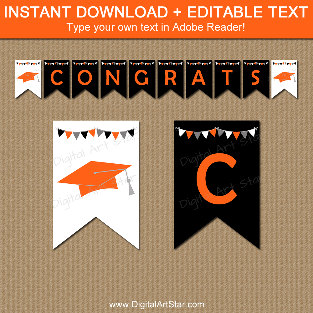 Instant Download Graduation Banner Black Orange White