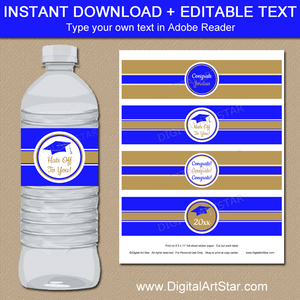 Instant Downloadable Graduation Water Bottle Labels Stickers Royal Blue and Gold