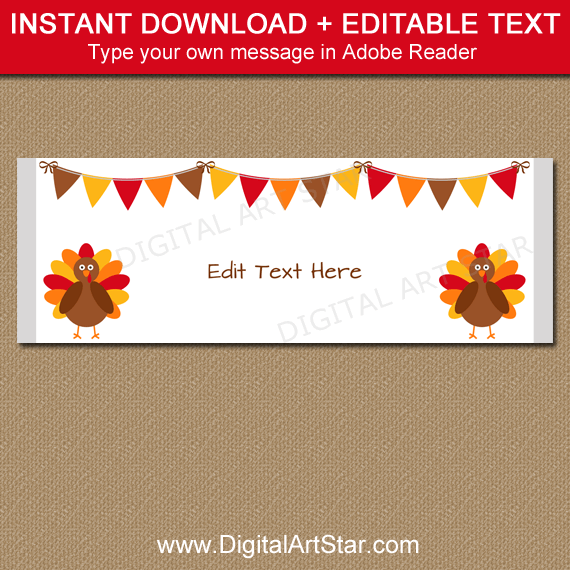 White Thanksgiving Candy Wrappers Instant Download PDF