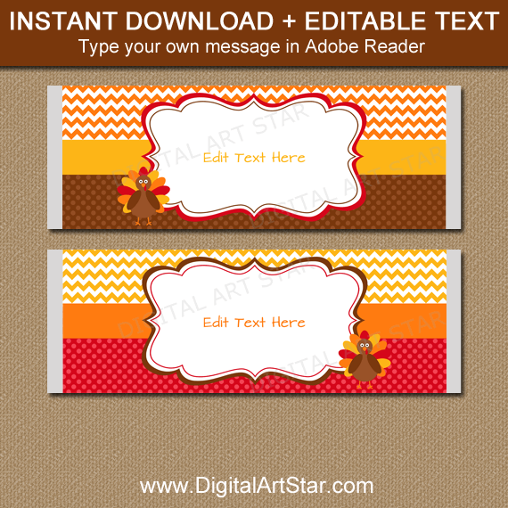 Editable Thanksgiving Candy Bar Wrapper Template PDF