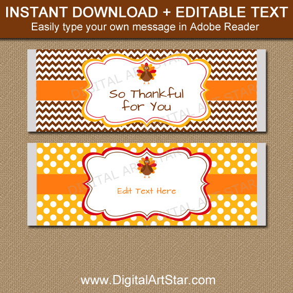 Downloadable Thanksgiving Chocolate Bar Wrappers