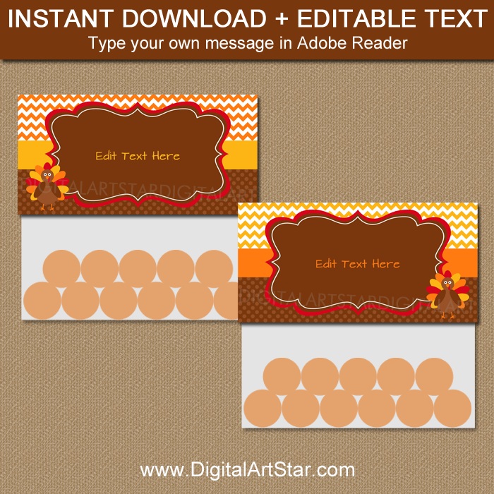 Thanksgiving Candy Bag Topper Template Instant Download