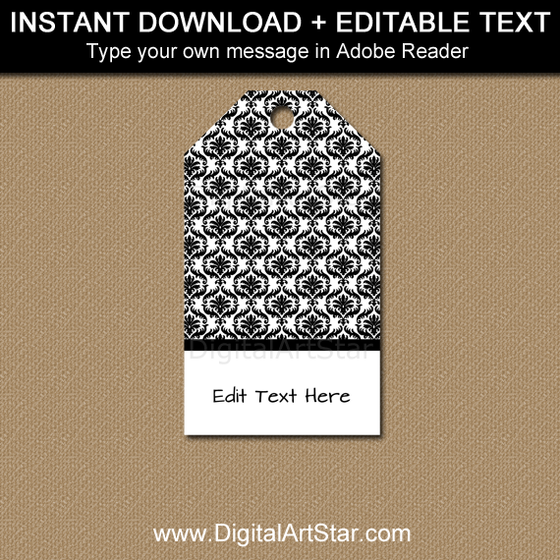 Instant Download Black and White Tags