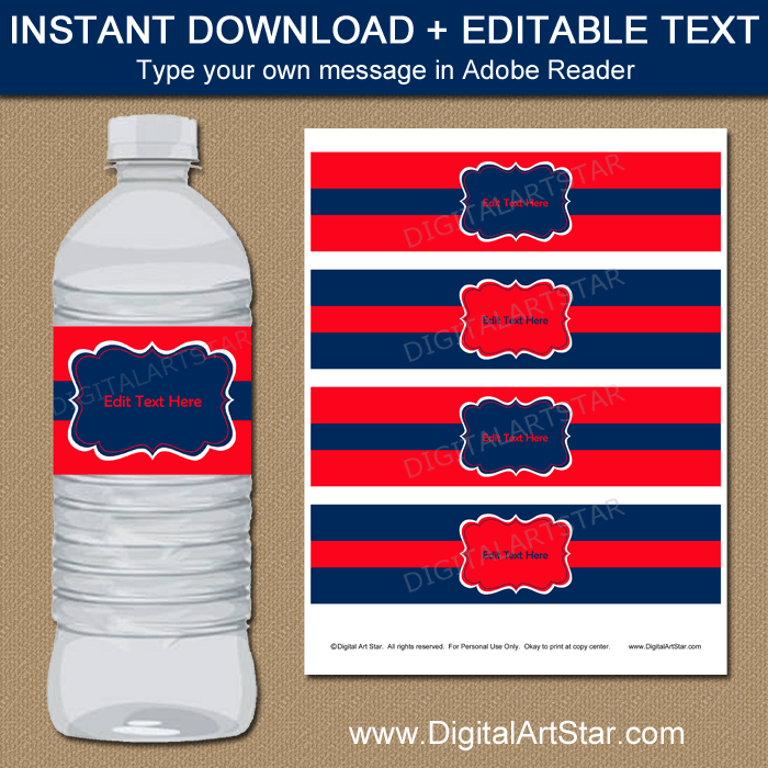 Editable Birthday Water Bottle Labels in Red and Navy Blue