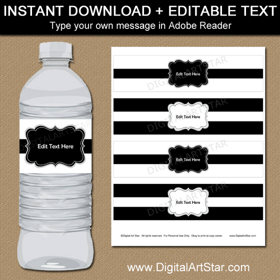 Black and White Water Bottle Label Template with Editable Text