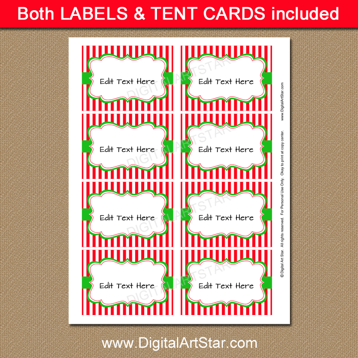 red and white striped Christmas party labels