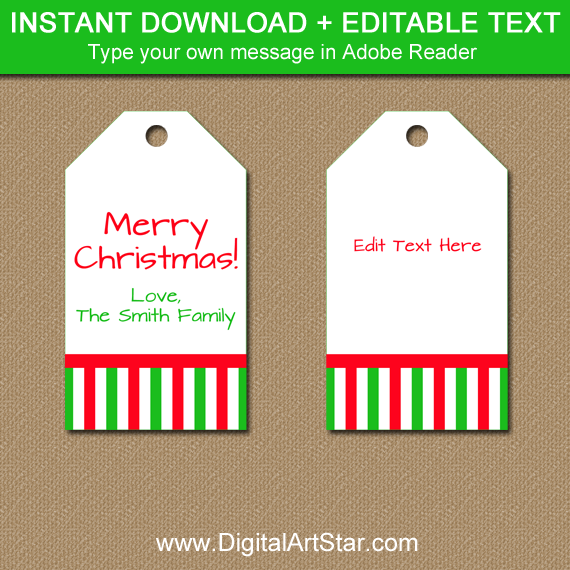 white Christmas tags with red and green stripes