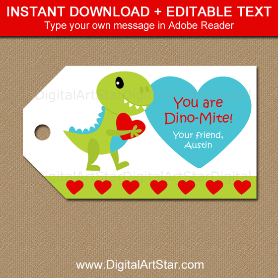 Instant Downloadable Dinosaur Valentine Tag Template