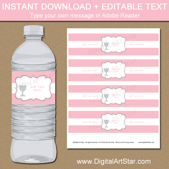 Pink and White Communion Party Water Bottle Labels