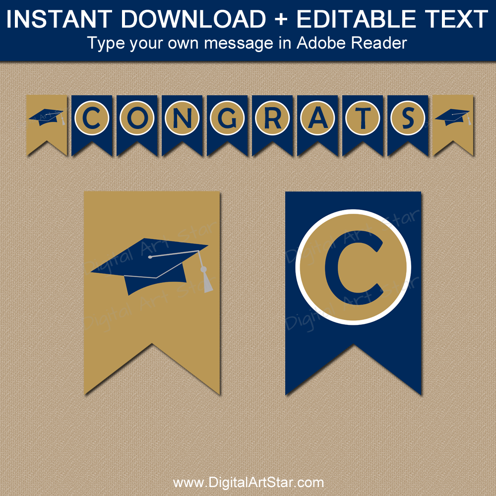 Graduation Banner Printable in Navy and Gold