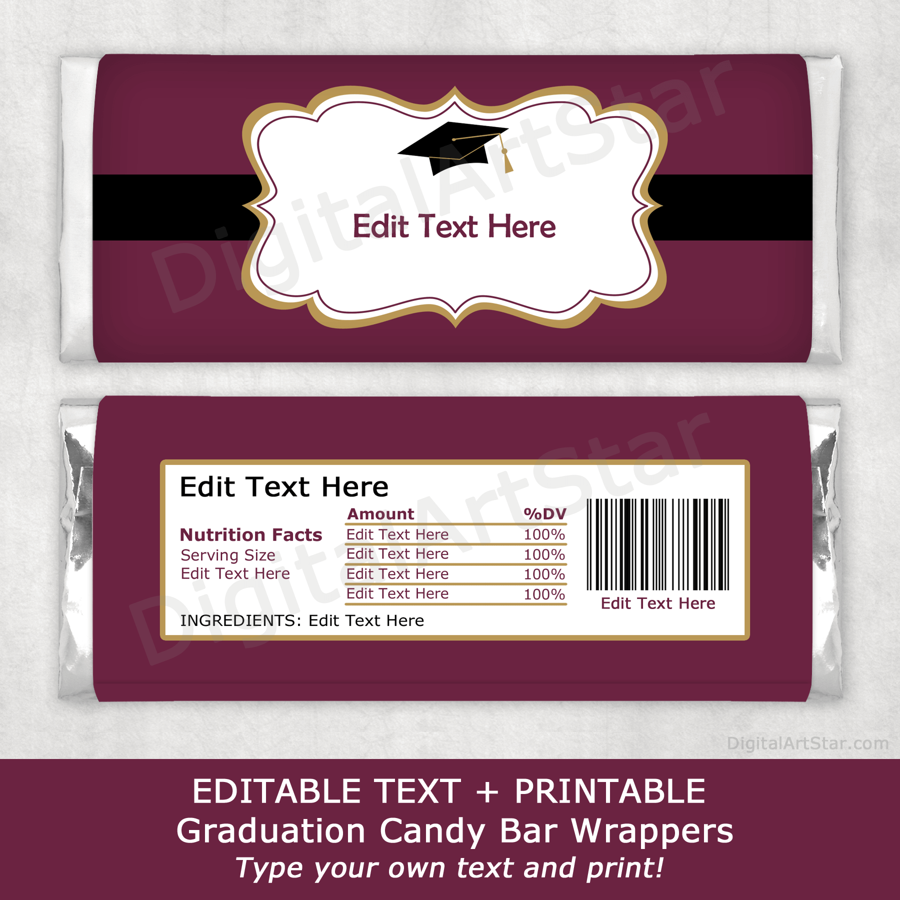 Maroon Graduation Chocolate Bar Wrappers with Black and Gold Accents