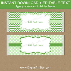 Printable Candy Bar Wrappers Green and White