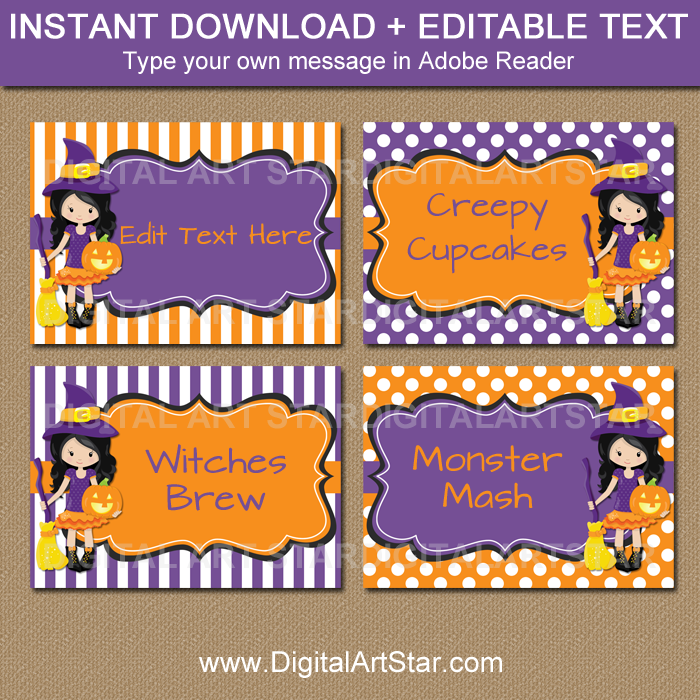 editable Halloween witch buffet cards