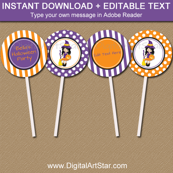 Printable Halloween Witch Cupcake Toppers Template
