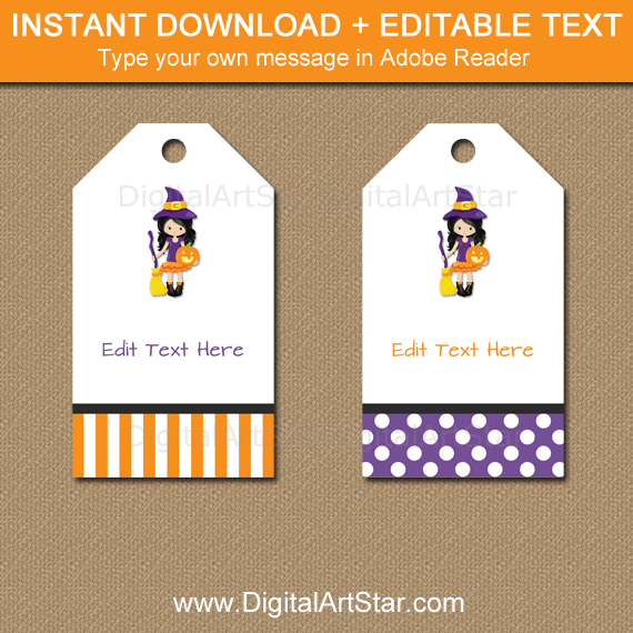 Instant Download Halloween Witch Gift Tag Printable