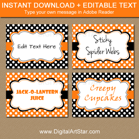 editable Halloween buffet cards