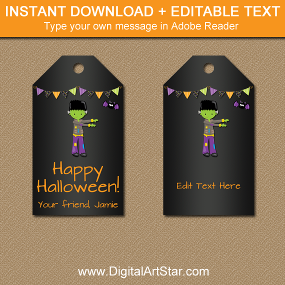 instant download halloween chalkboard tags