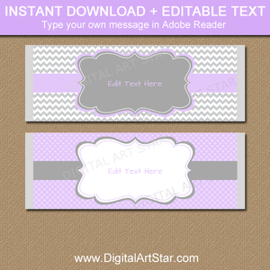 Lavender and Gray Baby Shower Candy Bar Wrapper Template