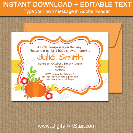 Pumpkin Baby Shower Invites Instant Download