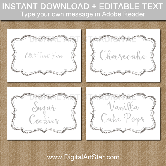 Instant Download Glitter Food Labels Template