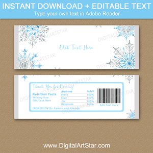 Instant Download Snowflake Party Favors for Christmas, Winter Wedding