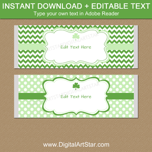 St Patrick's Day Candy Bar Wrappers Editable Template Download