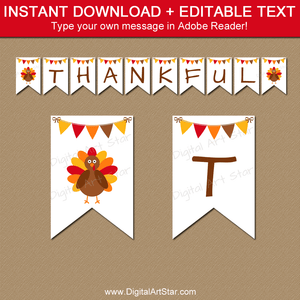 White Thanksgiving Banner Template Instant Download