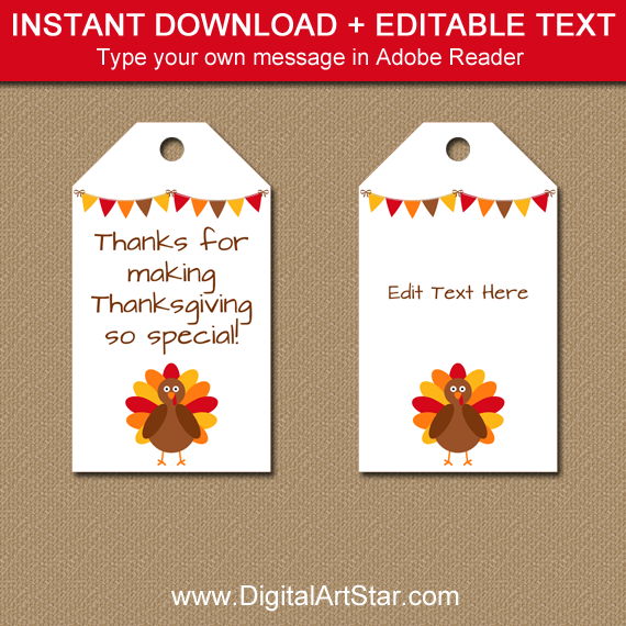 instant download thanksgiving hang tags with editable text