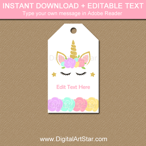 Editable Unicorn Themed Party Tags with Unicorn Face and Flowers