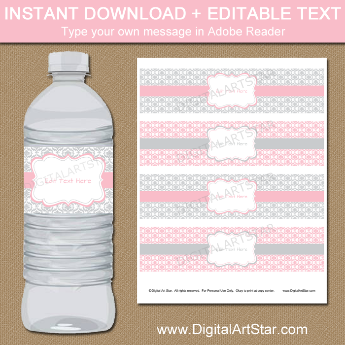 Pink and Gray Water Bottle Labels with Damask