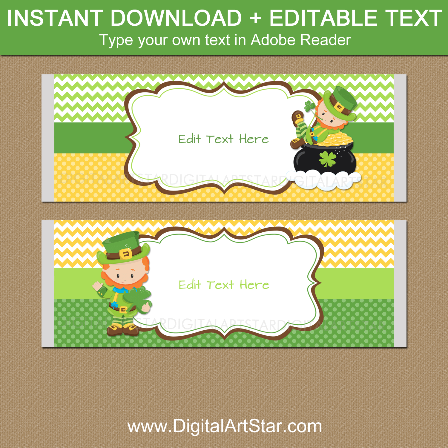 Downloadable Leprechaun Candy Bar Wrapper Template