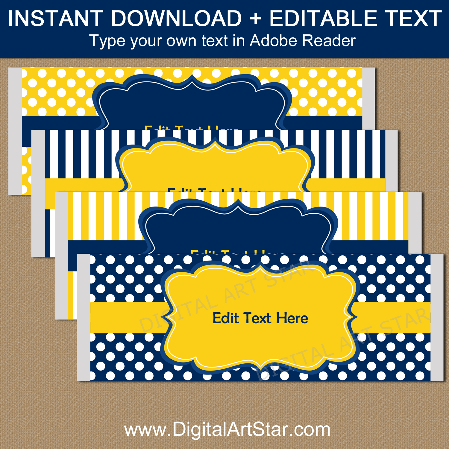 Navy Blue and Yellow Candy Bar Wrapper Template