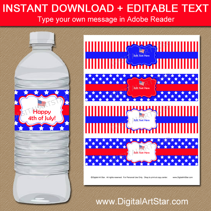 Instant Download Patriotic Water Bottle Labels