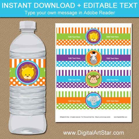 Jungle Party Water Bottle Labels
