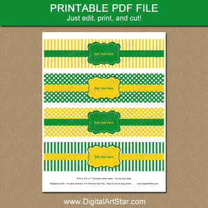 Kelly Green and Yellow Water Bottle Stickers Printable Template