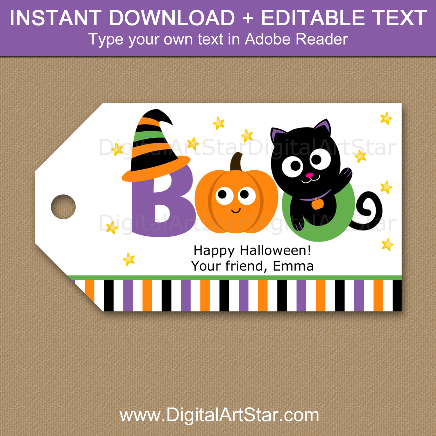 Kids Halloween Gift Tags Instant Download