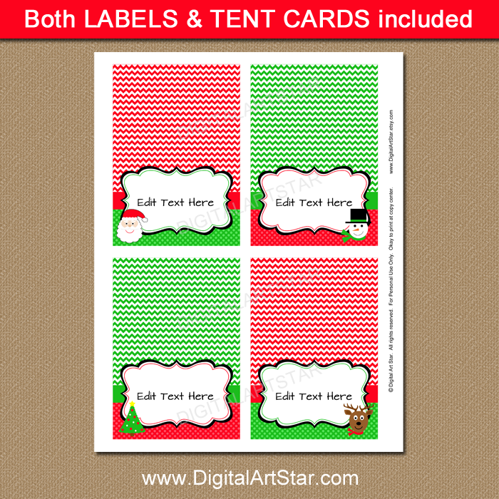 Kids Christmas Candy Buffet Labels by Digital Art Star