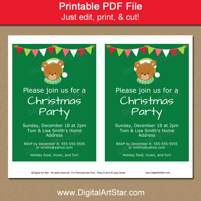 Cute Christmas Invitation - Kids Christmas Party | Digital Art Star