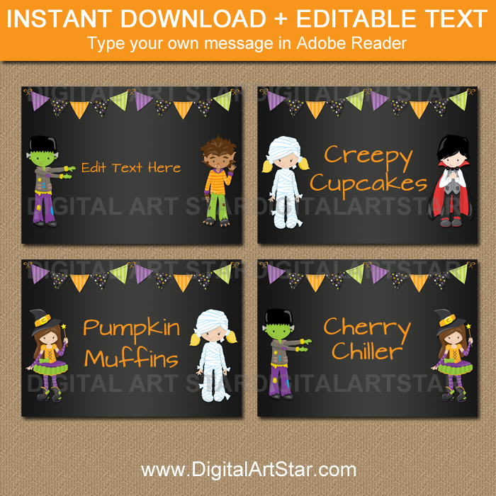 Kids Halloween Candy Buffet Labels by Digital Art Star