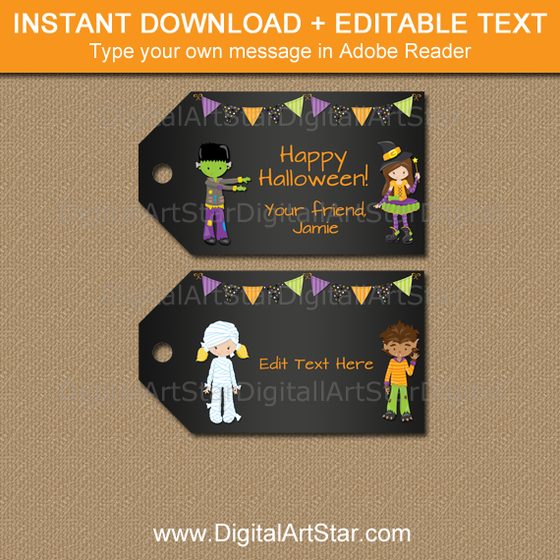 printable Halloween tags for kids