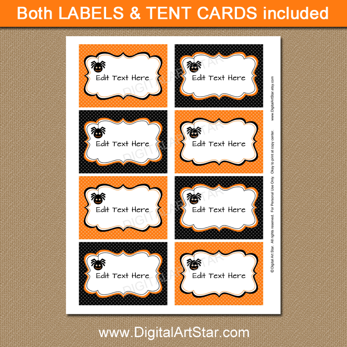 spider candy buffet labels for Halloween party