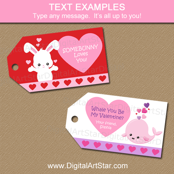 Kids Valentine Tags for Classroom Valentine Party