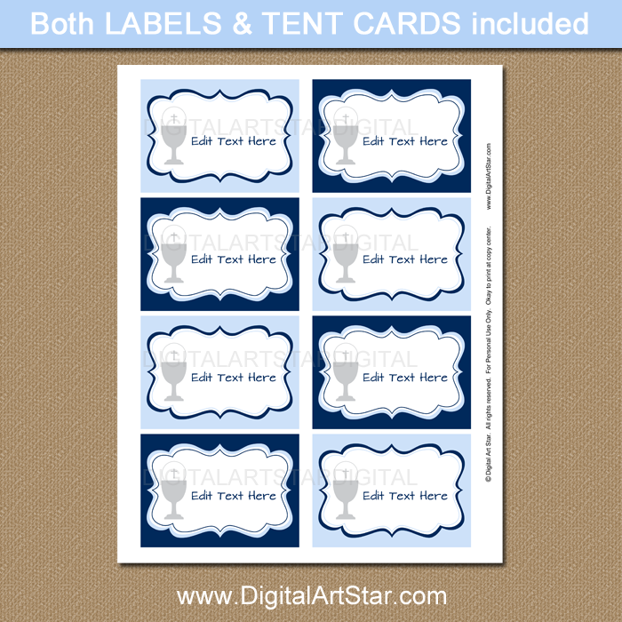 First Communion Editable Labels