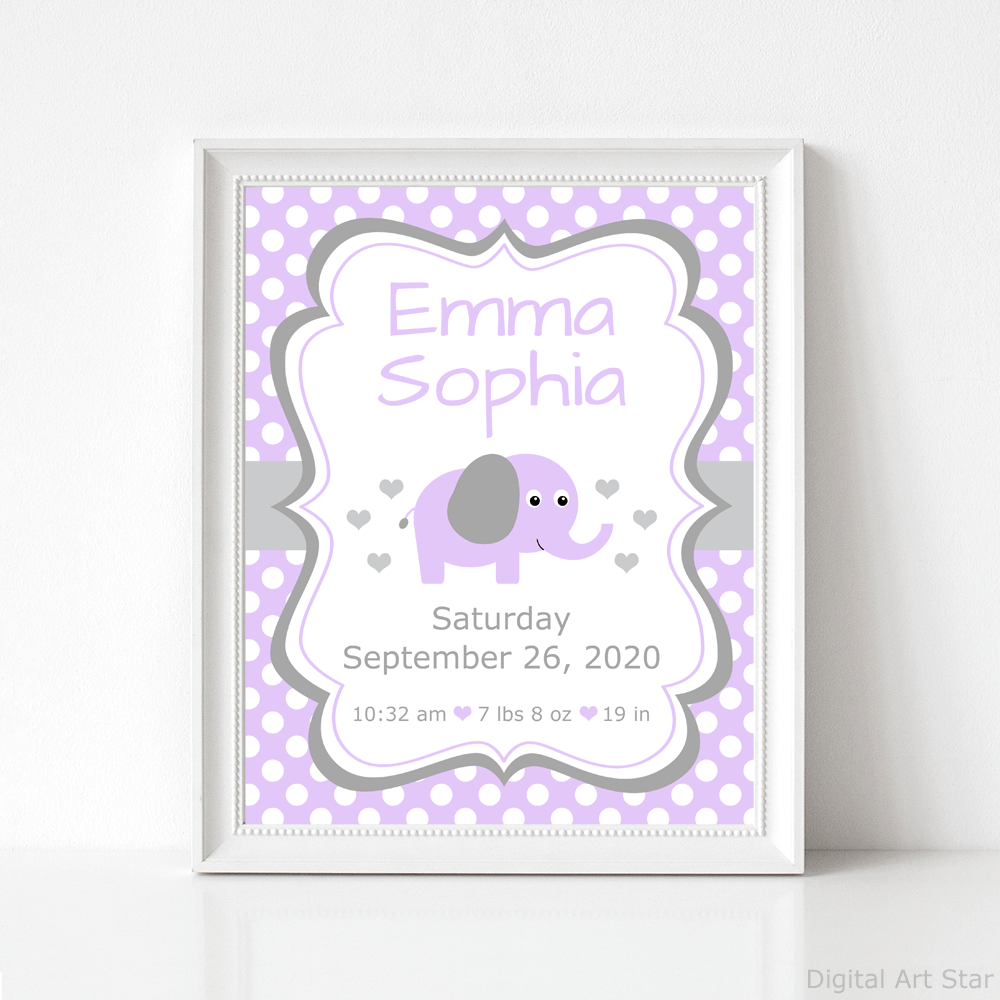 Lavender and Gray Elephant Baby Birth Stats Announcement Sign