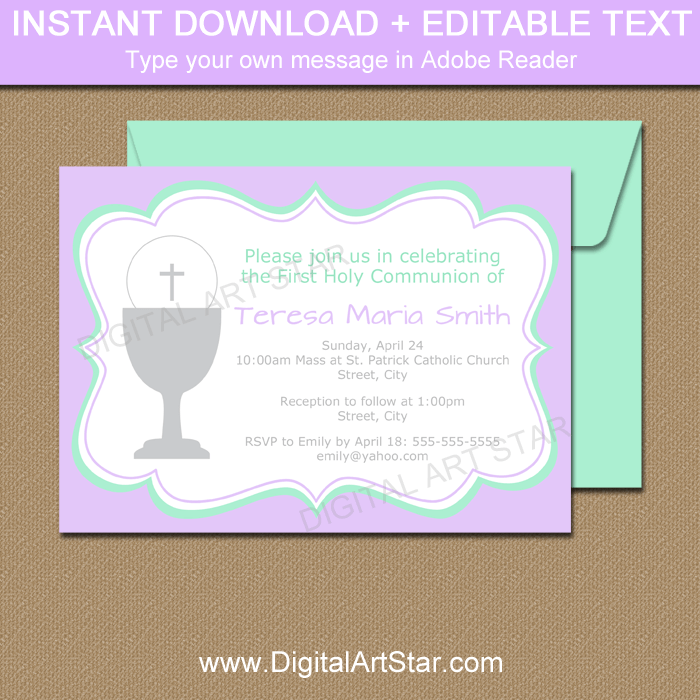 Lavender and Mint Green First Communion Invitation Template