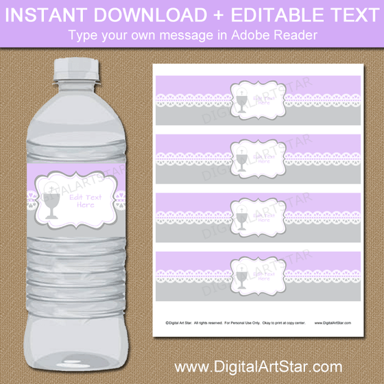 Downloadable Lavender Gray First Communion Water Bottle Labels