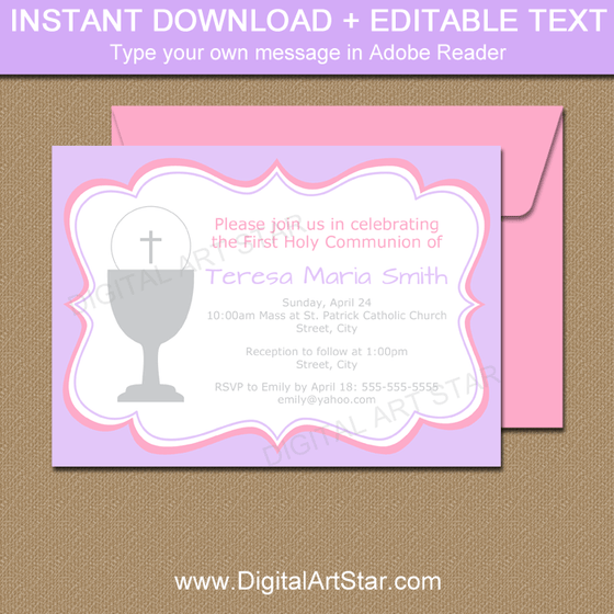 Lavender and Pink First Communion Invitations Instant Download