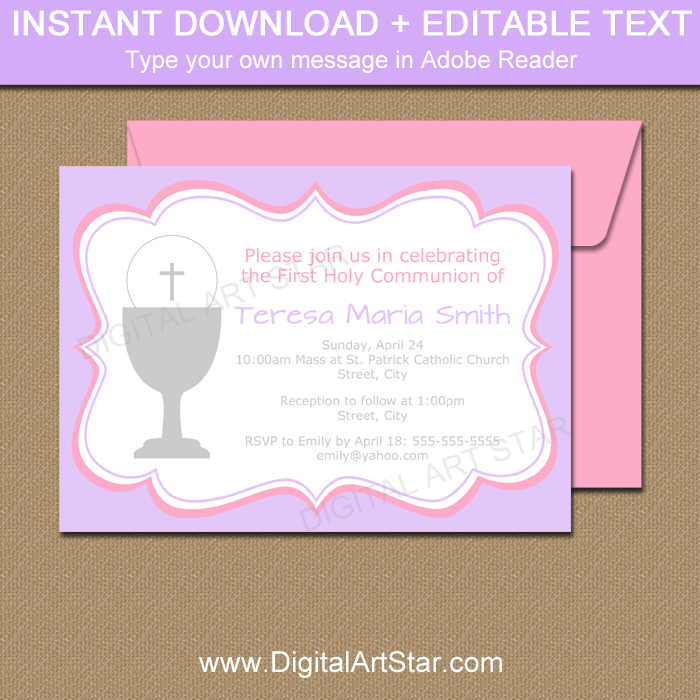 It's just a graphic of First Communion Invitations Free Printable regarding template